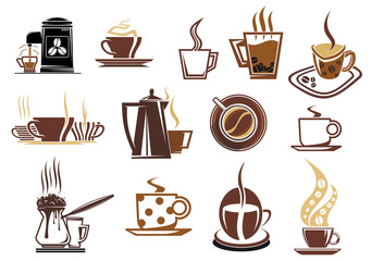 Brown and beige coffee icons