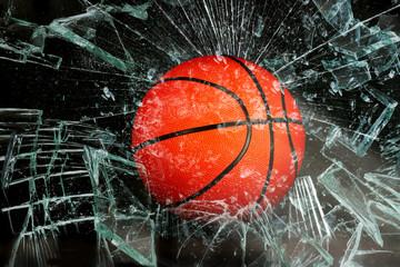 Basketball through glass.