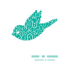 Vector white on green alphabet letters bird silhouette pattern