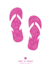 Vector pink abstract flowers texture flip flops silhouettes