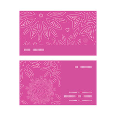 Vector pink abstract flowers texture horizontal stripe frame