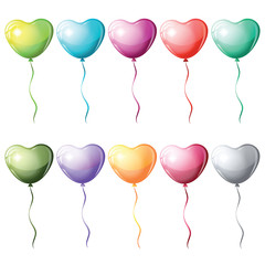 Heart shaped colorful balloons.
