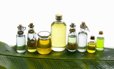 health spa with many massage oil banana leaf texture