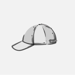 Baseball Cap Cartoon Hat Vector Illustration, easy all editable