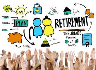 Diversity Hands Retirement Support Team Volunteer Concept