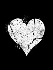 Symbol of broken heart on black background.