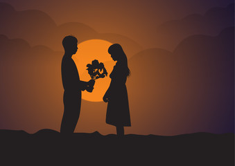 romantic silhouette of bride and groom on Sunset