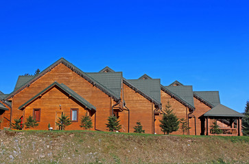 Wooden cottage in the resort Bukovel. Ukraine
