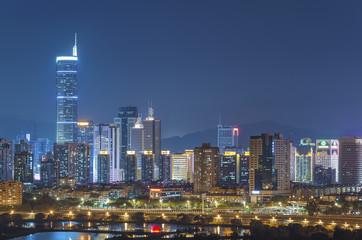Keuken foto achterwand Shanghai Skyline of Shenzhen City, China at twilight. Viewed from Hong Ko