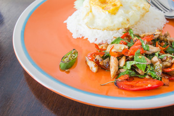 stir fried hot and spicy chicken with basil