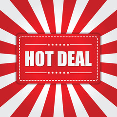 Hot Deal banner with sunburst effect on white and red background