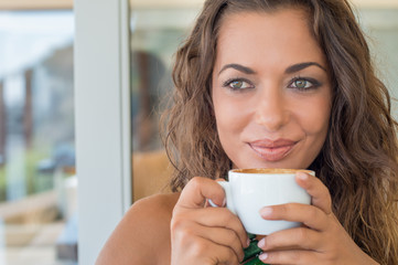 Thinking Girl At Cafè