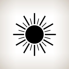 Silhouette sun with rays on a light background, vector