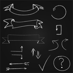Arrows and banners set. Hand drawn chalk on blackboard. Eps10.