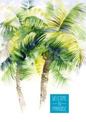 Template with vector watercolor palms