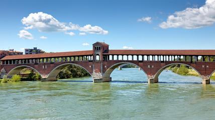 Ponte Coperto über den Ticino, Pavia, Italien