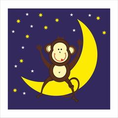 monkey, moon and night