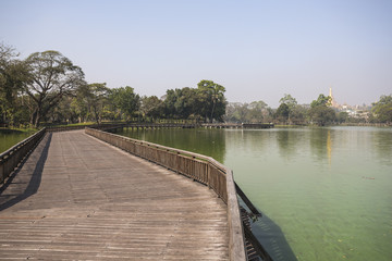 Kandawgyi Lake with views of Shwedagon Pagoda