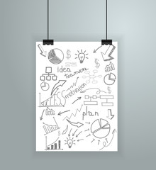 Poster on wall, Vector illustration template modern design