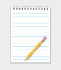 Vector Realistic Notepad With Pencil