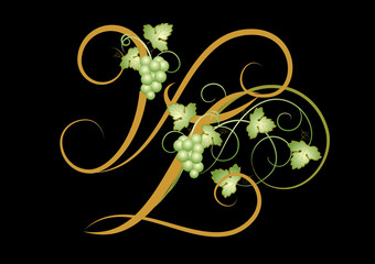 """Letter """"V"""" and """"L"""" with floral grapes branch."""