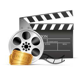 Wall Mural - Movie clapper and film reel over white background