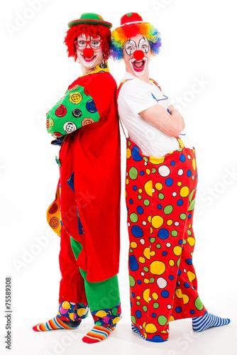clowns stehen r cken an r cken stockfotos und. Black Bedroom Furniture Sets. Home Design Ideas