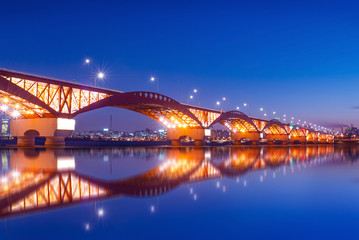 seongsan bridge with reflections.korea