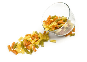 Three Colors Rotini Pasta in the Plate