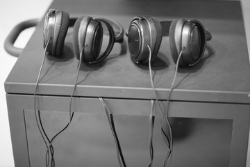 Pair of headphones, monochrome