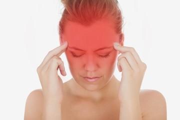 Woman suffering from severe headache