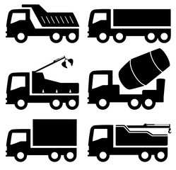 industrial trucks icons set