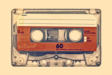 Retro styled image of an old compact cassette Fototapete