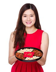 Woman hold chinese snack box