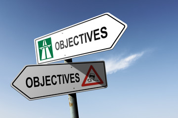 Objectives directions. Choice for easy way or hard way.