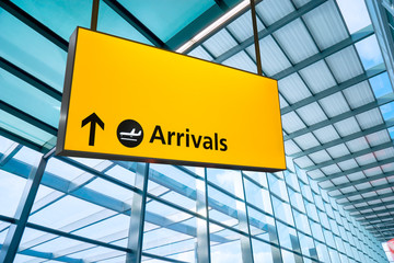 Wall Mural - Airport Departure and Arrival sign
