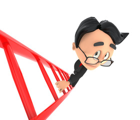 3d businessman on ladder
