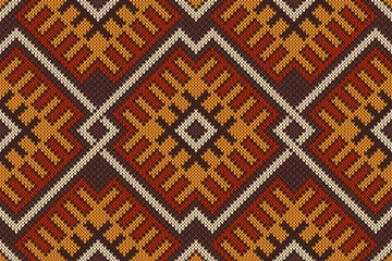 Traditional Tribal Aztec Seamless Pattern on the knitted texture