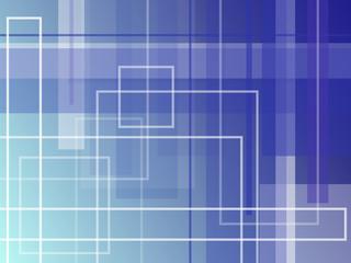 Blue square background.