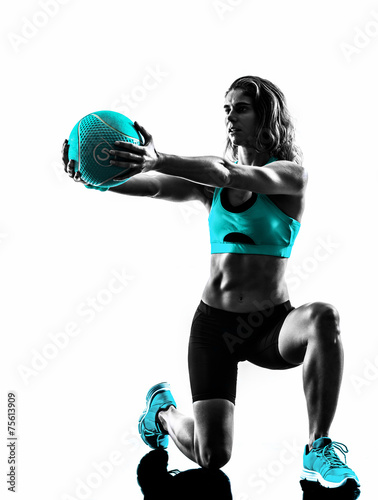 Fototapete woman fitness Medicine Ball exercises silhouette