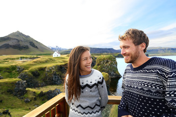 Tourist couple on romantic travel on Iceland