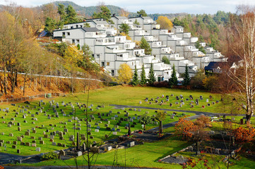 Top view of a settlement and cemetery