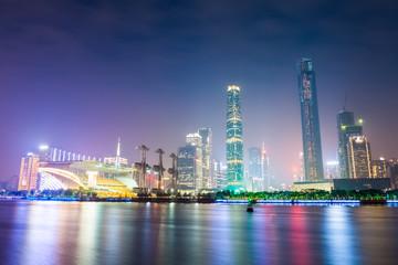 guangzhou skyline at night