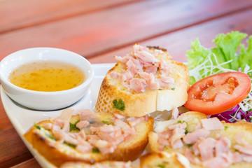Pork bread thai snack