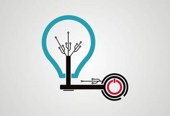 Tech lamp idea on logo vector