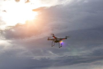 Dron watching the sunset