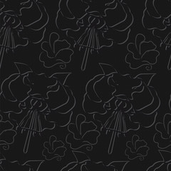 seamless black background with gray flowers