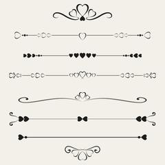 Set of valentine elements, vector