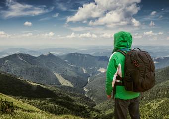 Mountain traveler behold mountain hiils