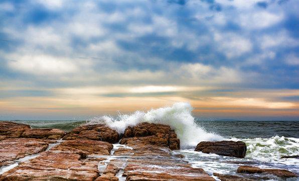 Waves washing over rocks at Southwest Harbor, Maine